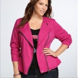 Torrid pink Moto style peplum jacket w/zipper sz:2